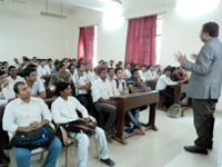 Prof. Naresh Muley conducting seminar on Personality Development Awareness Program in Government Engineering College Mechanical Department