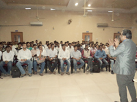 Prof. Naresh Muley conducting seminar on Personality Development Awareness Program in Shreeyash Engineering in Government Engineering College Mechanical Department
