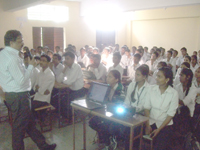 Prof. Naresh Muley conducting seminar on Personality Development Awareness Program in Sharadchandra Pawar Polytechnic College